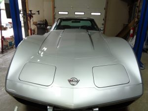 Complete Vehicle Restoration: corvette front at Hamilton's Auto Body Shop in Bealeton VA