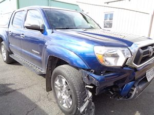 Blue Toyota Before Hamiltons Auto Body Repair